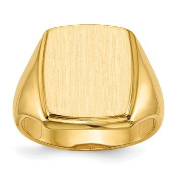 14k 14.5x13.0mm Open Back Mens Signet Ring