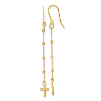14k Polished Cross Dangle Shepherd Hook Earrings
