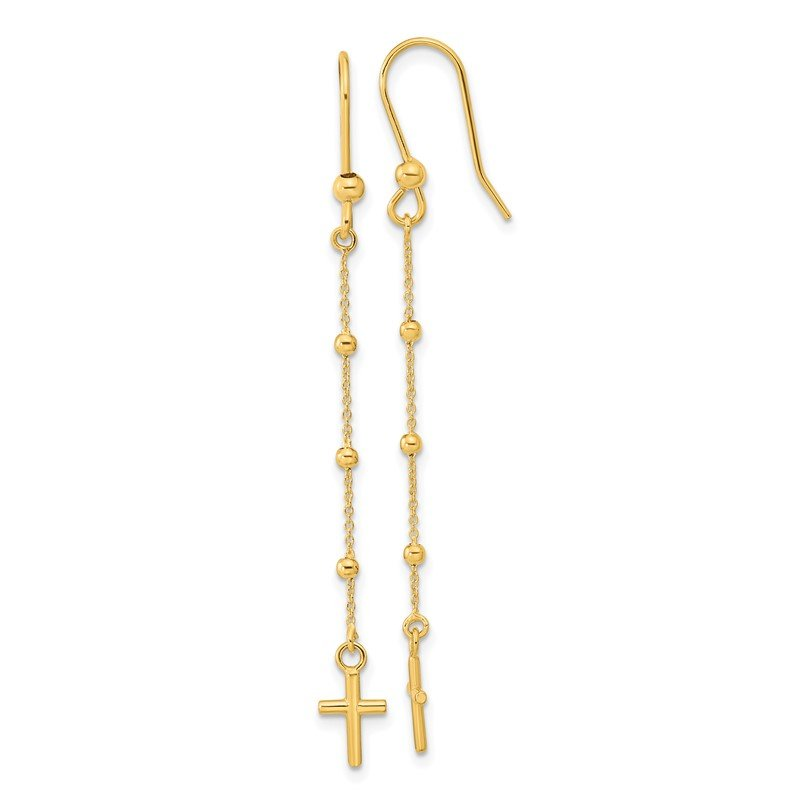 Quality Gold 14k Polished Cross Dangle Shepherd Hook Earrings