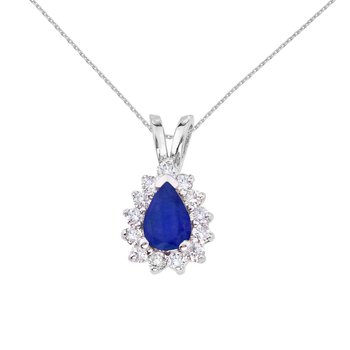 14k White Gold 6x4 mm Pear Shaped Sapphire and Diamond Pendant