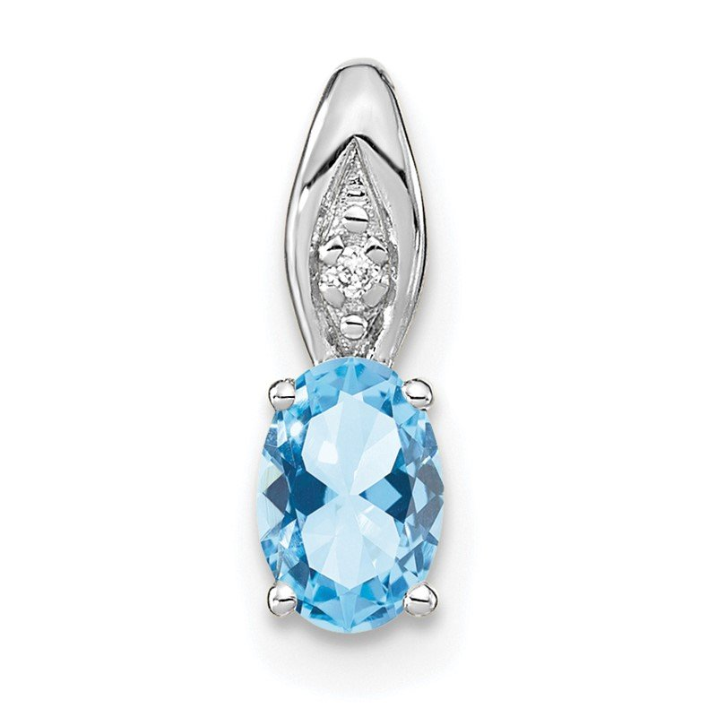Quality Gold 14k White Gold Aquamarine and Diamond Pendant