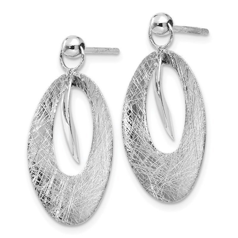 Leslie's Leslie's 14K White Polished & Scratch Finish Oval Reversible Post Earrings