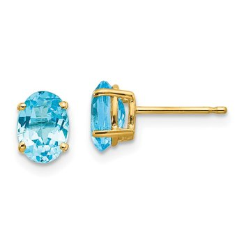 14k 7x5mm Oval Blue Topaz Earrings