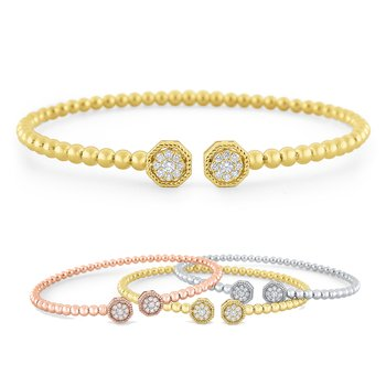 14k Gold and Diamond Bangle Stack Bracelets