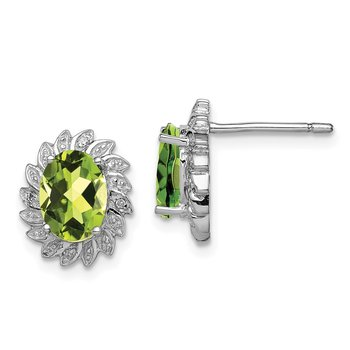 Sterling Silver Rhodium-plated Peridot & Diamond Post Earrings