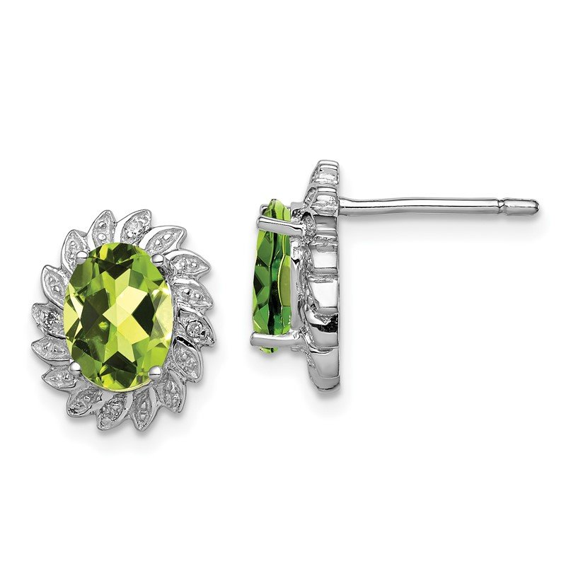 Quality Gold Sterling Silver Rhodium-plated Peridot & Diamond Post Earrings