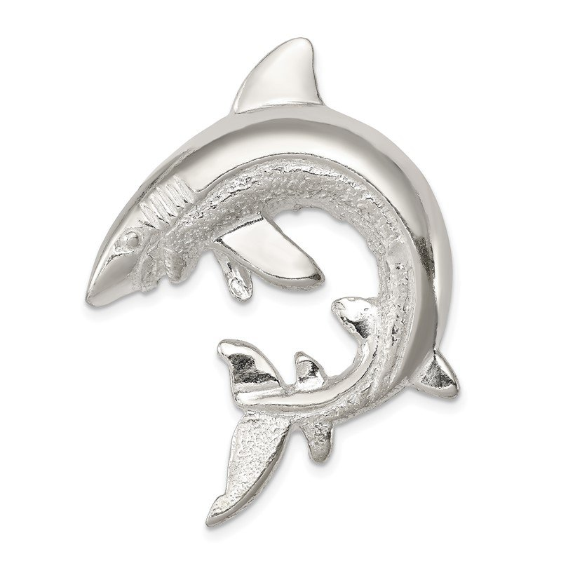 Quality Gold Sterling Silver Polished & Textured Shark Chain Slide Pendant