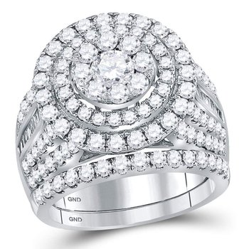 14kt White Gold Womens Round Diamond Cluster Bridal Wedding Engagement Ring Band Set 3.00 Cttw
