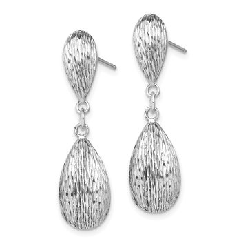 Sterling Silver Rhodium Plated D/C Tear Drop Dangle Earrings