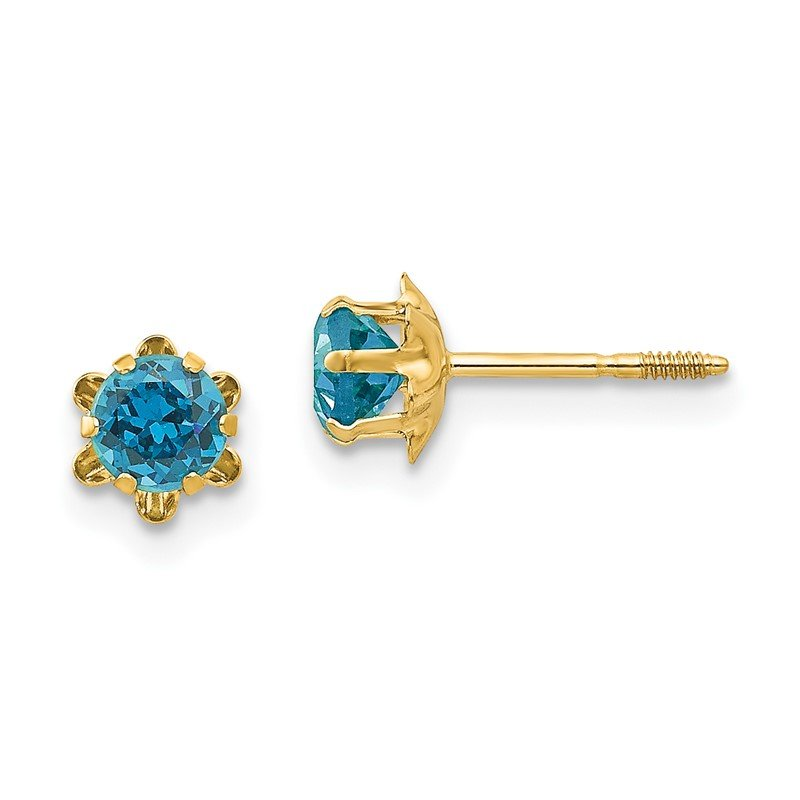 Quality Gold 14k Madi K 4mm Synthetic Blue Topaz (Dec) Screwback Earrings