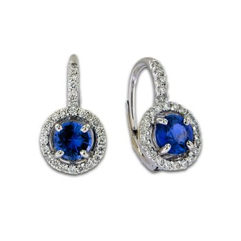 Sapphire & Diamond Lever Cluster Earrings