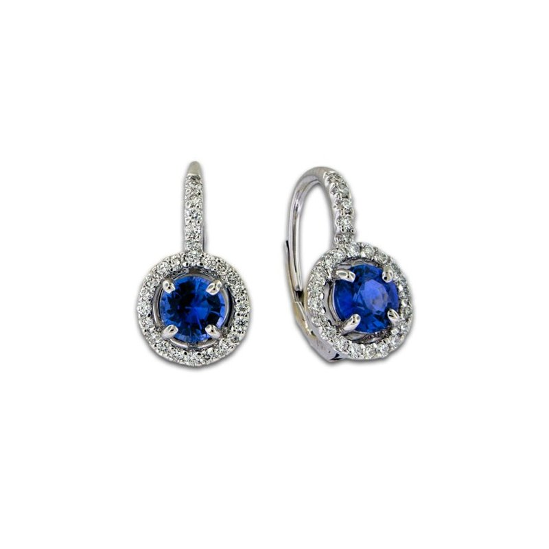 James Breski Sapphire & Diamond Lever Cluster Earrings