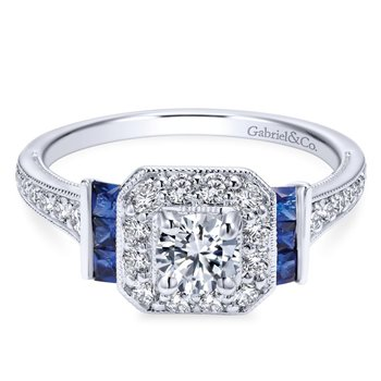Halo and Sapphire Engagement Ring