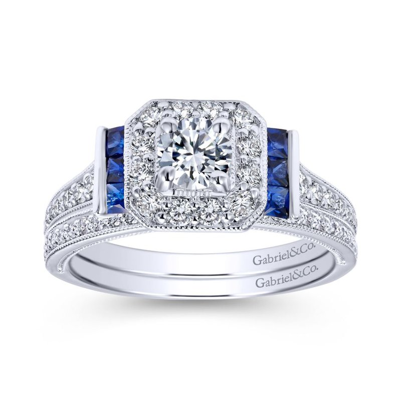 Gabriel Bridal Vintage 14K White Gold Round Halo Sapphire and Diamond Engagement Ring