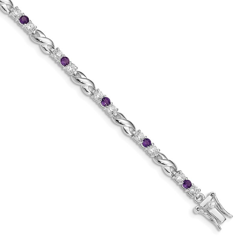 Quality Gold Sterling Silver Rhodium-plated Amethyst & CZ Bracelet