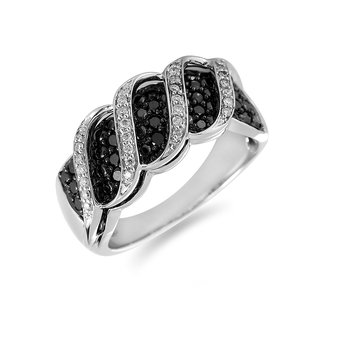 14K WG White Black Diamond Ring