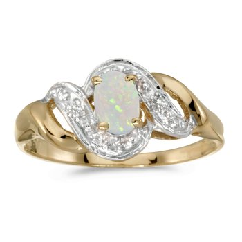 10k Yellow Gold Oval Opal And Diamond Swirl Ring