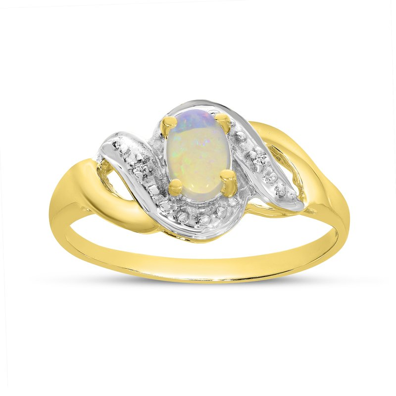 Color Merchants 10k Yellow Gold Oval Opal And Diamond Swirl Ring