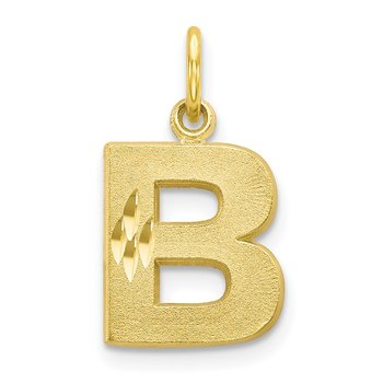 10K Satin Diamond-cut Initial B Charm