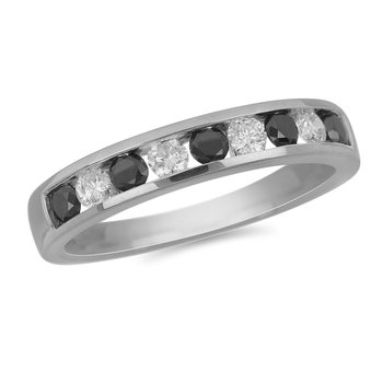 10K WG Alternating White and Black Diamond Ring in Channel Setting
