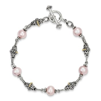 Sterling Silver w/14k 9-10mm FW Cultured Pink Pearl 7.5in Bracelet