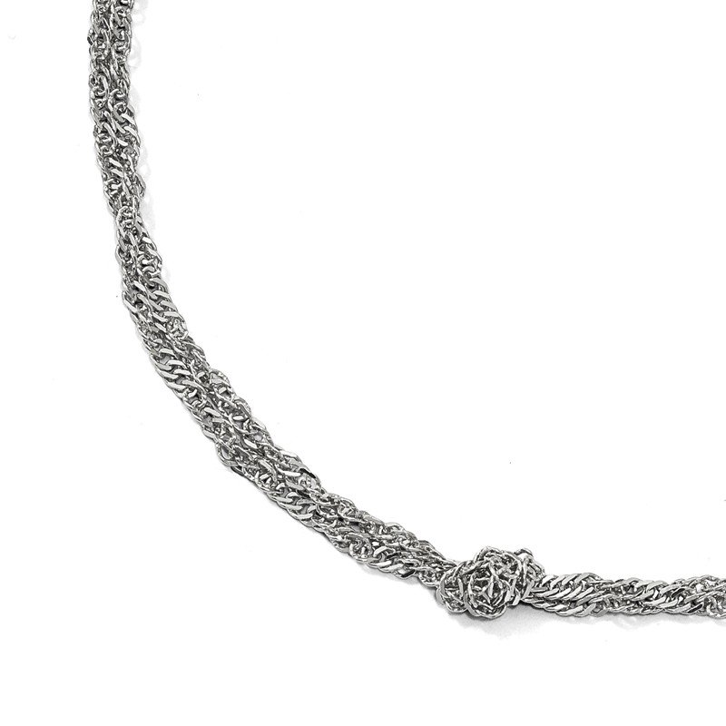 Leslie's Sterling Silver Polish D/C Double Twisted w/1.5in ext Necklace