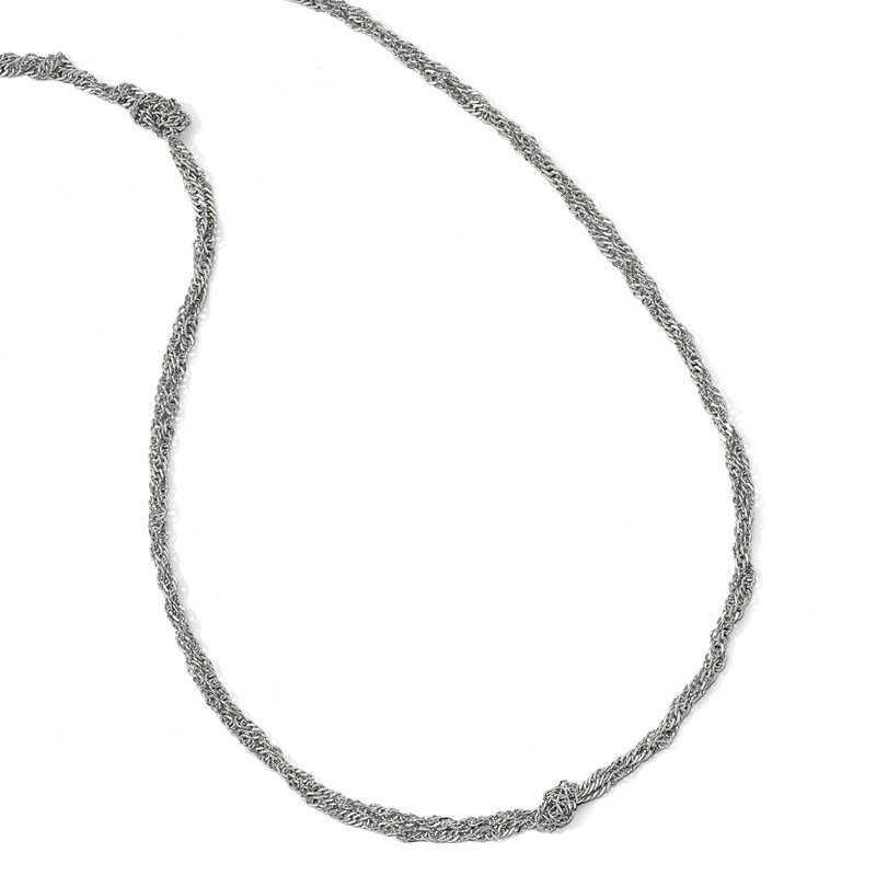 Leslie's Leslie's Sterling Silver Polish D/C Double Twisted w/1.5in ext Necklace