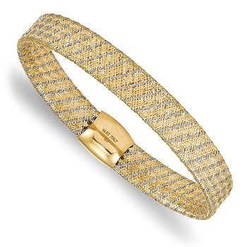 Leslie's 14K Two-tone Fancy Stretch Bangle Bracelet