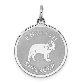 Sterling Silver Rhodium-plated English Springer Disc Charm