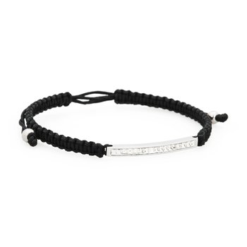 Bracelet. 316L stainless steel, black cotton macramé cord and Swarovski® Elements crystals