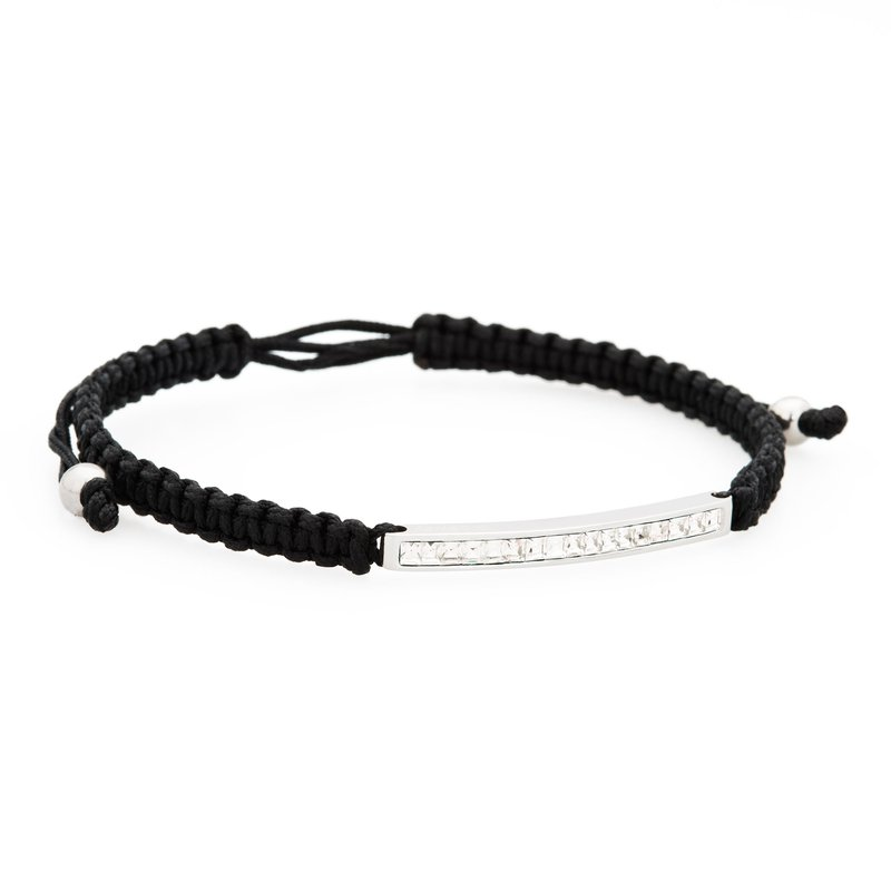 Brosway Bracelet. 316L stainless steel, black cotton macramé cord and Swarovski® Elements crystals
