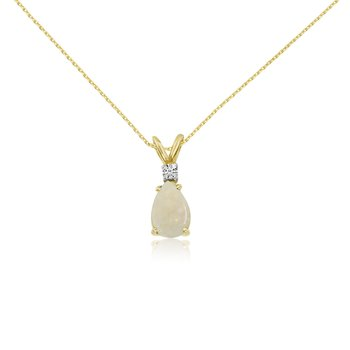 14k Yellow Gold 7X5 Opal Pear and Diamond Pendant