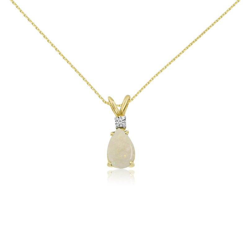 Color Merchants 14k Yellow Gold 7X5 Opal Pear and Diamond Pendant