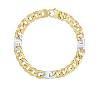 14K Gold Fancy Figaro Cuban Link with White Lobster Lock