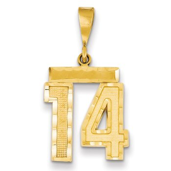 14k Medium Diamond-cut Number 14 Charm