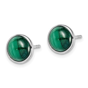 Sterling Silver Rhodium-plated 7mm Malachite Post Earrings