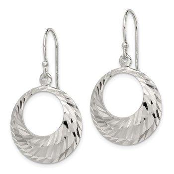 Sterling Silver Diamond-cut Dangle Hoops Earrings