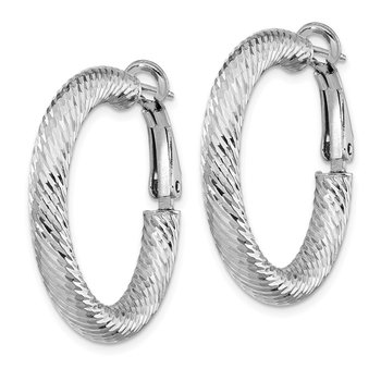 14k 4x20mm White Gold Diamond-cut Round Omega Back Hoop Earrings