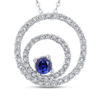 5/8 Ct Diamond with 3/8 Ct Sapphire Circle Pendant with Chain