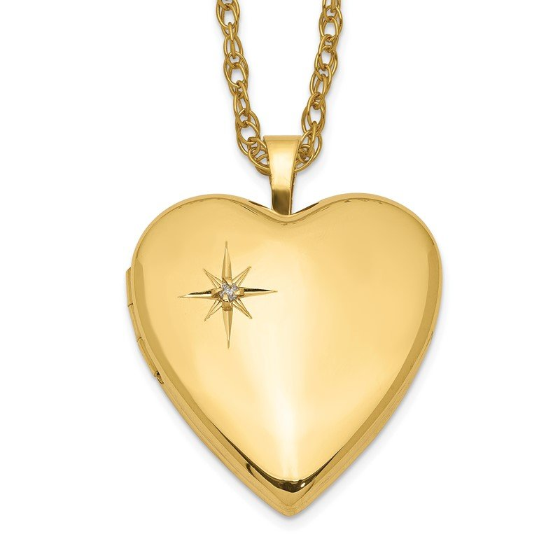 Quality Gold 1/20 Gold Filled 20mm Diamond Heart Locket Necklace