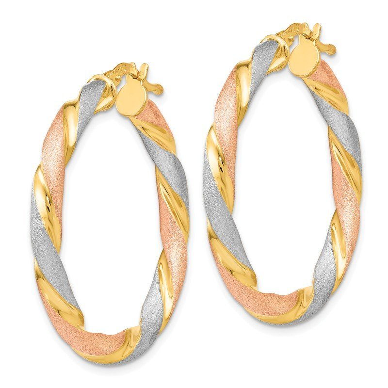 Leslie's Leslie's Sterling Silver Tri-color Twisted Hinged Hoop Earrings