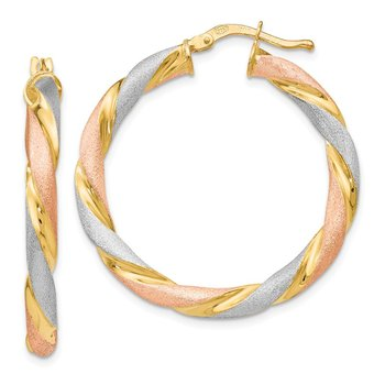 Leslie's Sterling Silver Tri-color Twisted Hinged Hoop Earrings