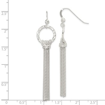 Sterling Silver Hammered Circle Multi-Strand Dangle Hook Earrings