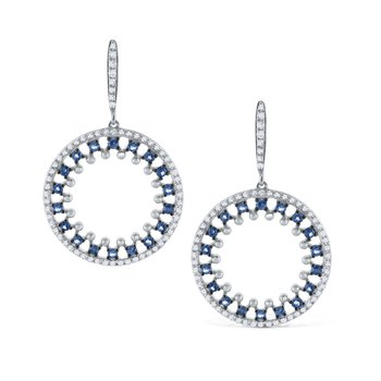 Blue Sapphire & Diamond Round Earrings Set in 14 Kt. Gold