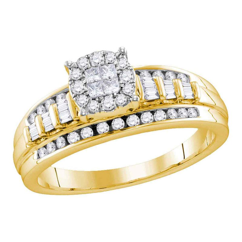Kingdom Treasures 10kt Yellow Gold Womens Princess Round Diamond Cluster Bridal Wedding Engagement Ring 1/2 Cttw