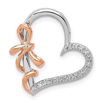 14k White and Rose Gold Diamond Polished Heart w/Bow Chain Slide