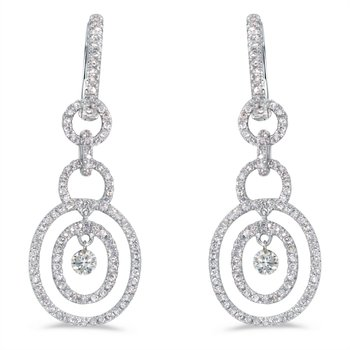 14K White Gold .92 ct Dashing Diamonds Earrings