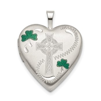 Sterling Silver 20mm Green Enamel Clover/Cross Heart Locket