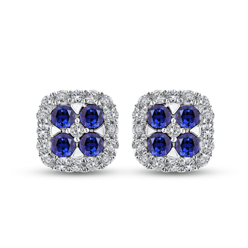 1/3 Ct Diamond with 1 1/5 Ct Sapphire Fashion Earrings