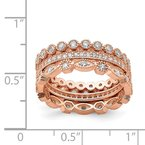 Sterling Silver Rose-tone CZ Set of 3 Eternity Rings